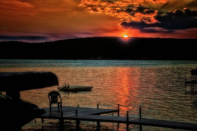 Finger Lakes New York Sunset By The Dock 04 Poster by Thomas Woolworth