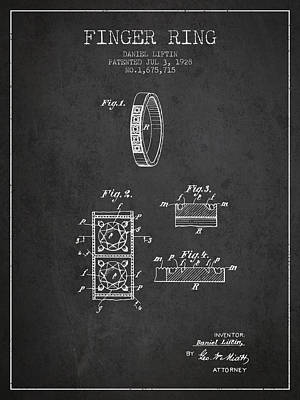 Finger Ring Patent From 1928 - Charcoal Poster by Aged Pixel