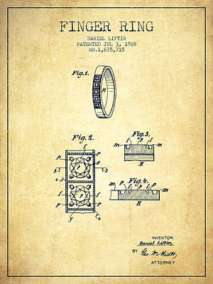 Finger Ring Patent From 1928 - Vintage Poster by Aged Pixel