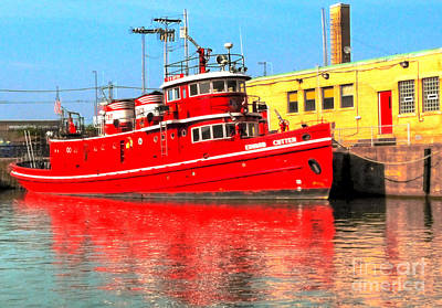 Fire Boat Poster by Kathleen Struckle