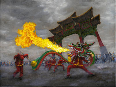 Poster featuring the painting Fire-breathing Dragon Dancer by Jason Marsh