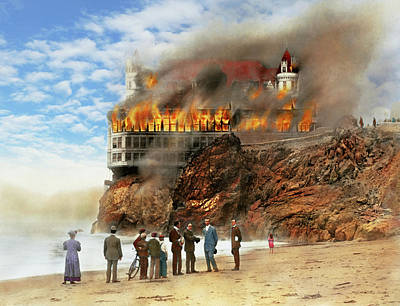 Poster featuring the photograph Fire - Cliffside Fire 1907 by Mike Savad