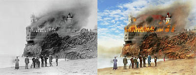 Poster featuring the photograph Fire - Cliffside Fire 1907 - Side By Side by Mike Savad