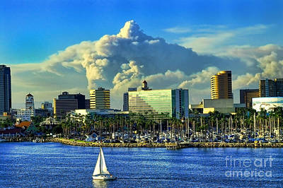 Poster featuring the photograph Fire Cloud Over Long Beach by Mariola Bitner