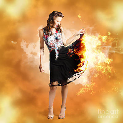 Fire Fashion Female Pin-up Poster by Jorgo Photography - Wall Art Gallery