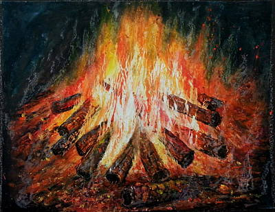 Fire Logs Poster by MadhuRavi Paintings
