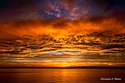 Fire Over Lake Eustis Poster by Christopher Holmes