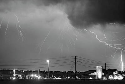 Fire Rescue Station 67  Lightning Thunderstorm Black And White Poster