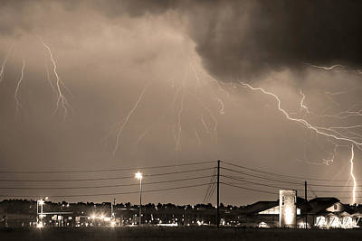 Fire Rescue Station 67  Lightning Thunderstorm Sepia Black And W Poster