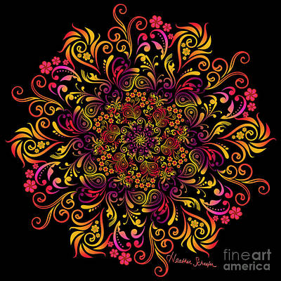 Fire Swirl Flower Poster