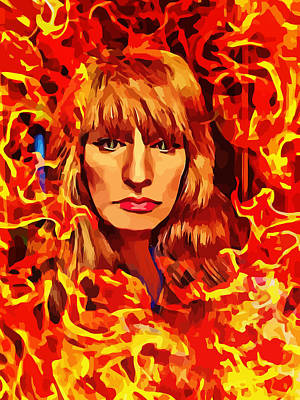 Fire Woman Abstract Fantasy Art Poster