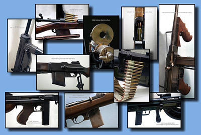 Firearms Military Collage 10 Images Poster by Thomas Woolworth