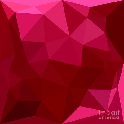Firebrick Red Abstract Low Polygon Background Poster