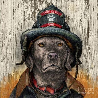 Firefighter - Silver Labrador Retriever Poster by Kathleen Harte Gilsenan