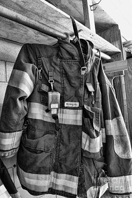 Fireman - Saftey Jacket Black And White Poster by Paul Ward