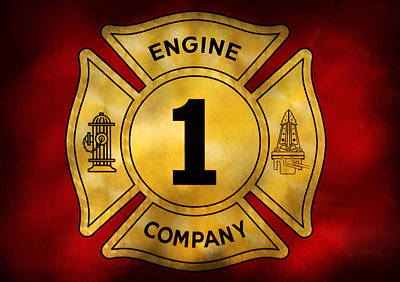 Fireman - Engine Company 1 Poster by Mike Savad