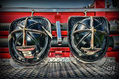 Fireman Helmets On The Truck Poster