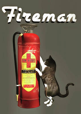Poster featuring the painting Fireman by Jan Keteleer