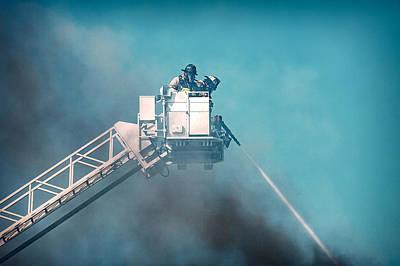 Firemen Dousing Flames  Poster by Todd Klassy