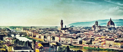 Firenze - Florence Skyline Art Painting Poster by Wall Art Prints