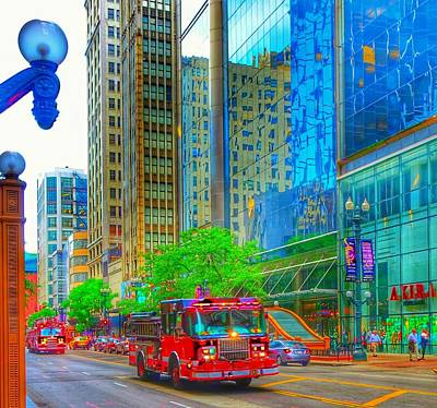 Poster featuring the photograph Firetruck In Chicago by Marianne Dow