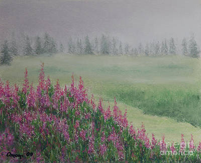 Poster featuring the painting Fireweeds Still In The Mist by Stanza Widen