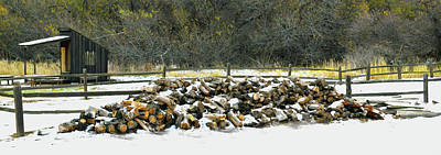 Poster featuring the photograph Firewood In The Snow At Fort Tejon by Floyd Snyder