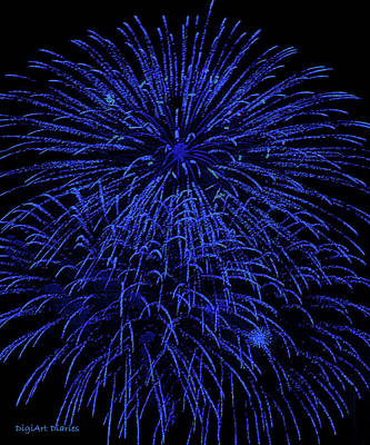 Firework Blues Poster by DigiArt Diaries by Vicky B Fuller