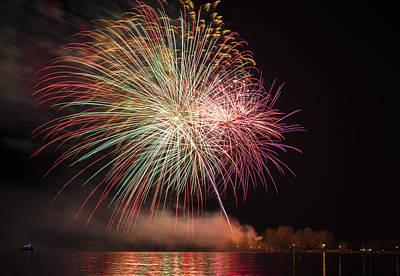 Fireworks On The Ontario Lake Poster by Larysa Hlebik