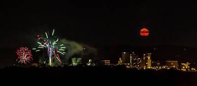 Fireworks And Moon Over Asheville Poster by John Haldane