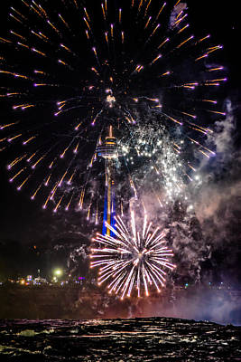 Fireworks At Niagara Falls Read Description Poster by Carlos Ruiz