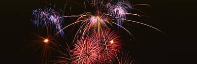 Fireworks Exploding Against Night Sky Poster by Panoramic Images