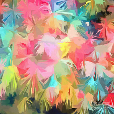 Fireworks Floral Abstract Square Poster by Edward Fielding