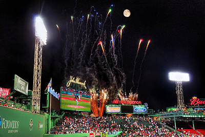 Fireworks Over Fenway Park - Boston Poster by Joann Vitali