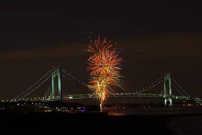 Fireworks Over The Verrazano Narrows Bridge Poster