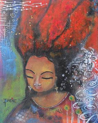 Poster featuring the painting Firey Hair Girl by Prerna Poojara