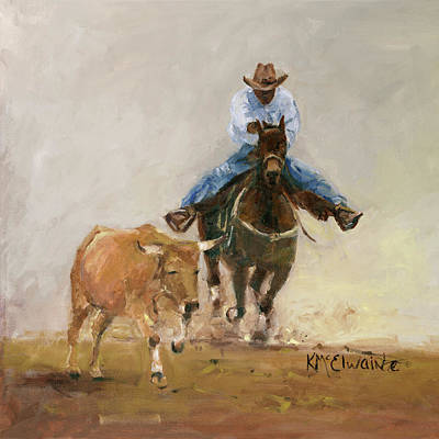 First Bulldogger Bill Picket Oil Painting By Kmcelwaine  Poster by Kathleen McElwaine