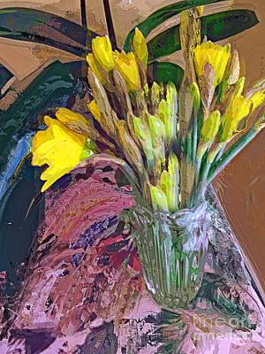 Poster featuring the digital art First Daffodils by Alexis Rotella