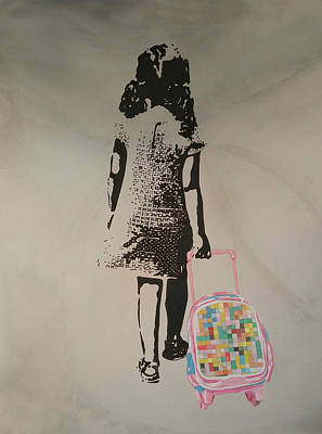 Street Art Painting, Stencil-graffiti Style, First Day At School - Urban Figure Poster