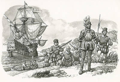 First Europeans Arriving In California  Poster