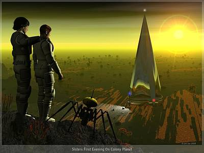 First Evening On Colony Planet Poster by Jim Coe