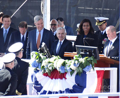 First Lady Michelle Obama At The Christening Of The Illinois Ssn 786 Poster