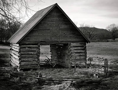 First Light At The Barn In Black And White Poster