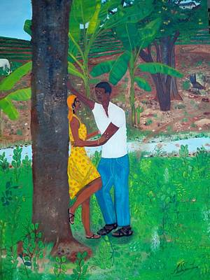 Poster featuring the painting First Love by Nicole Jean-louis