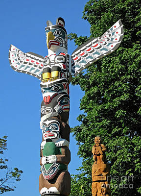 First Nation Totem Poles Poster by Ann Horn