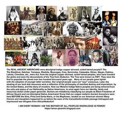 First Native Americans Were Indigo Twa Black Afrikans Poster