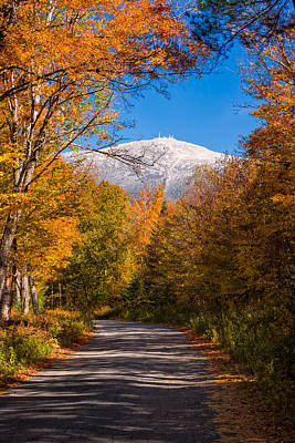 First Snow And Fall Foliage Mount Washington Poster by Jeff Sinon