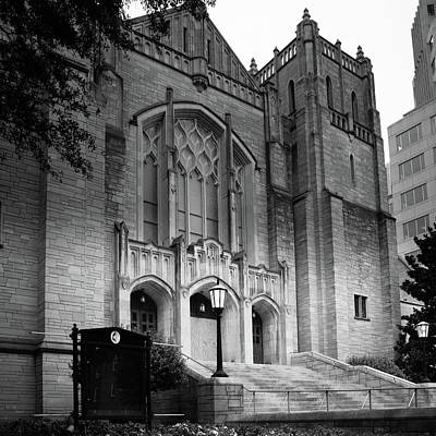 First United Methodist Church Charlotte In Black And White Poster