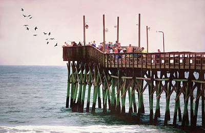 Fish Are Biting At Ocean Isle Pier Poster by Sandi OReilly