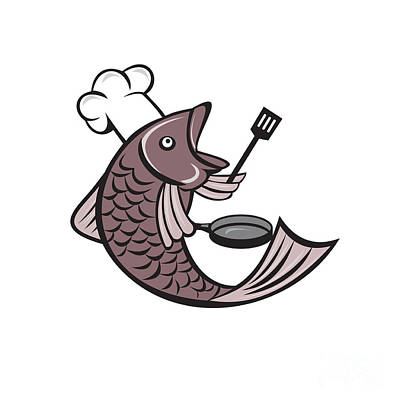 Fish Chef Cook Holding Spatula Frying Pan Cartoon Poster by Aloysius Patrimonio